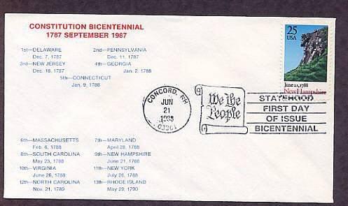 New Hampshire Statehood Bicentennial, HC First Issue FDC USA