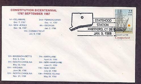 Connecticut Statehood Bicentennial HC First Issue FDC USA