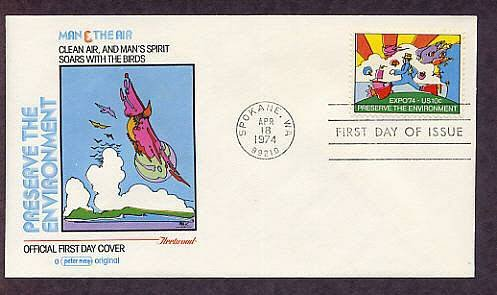 Artist Peter Max Expo 74, Cosmic Jumper, Preserve the Environment, Man and Nature First Issue 1974