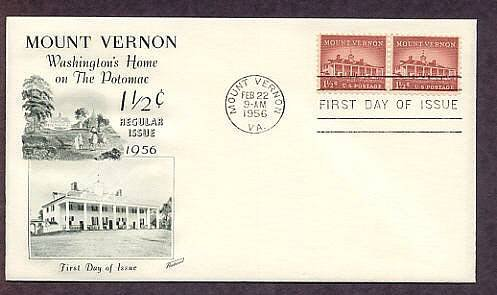 Mount Vernon, George Washington's Home, 1956 First Issue USA