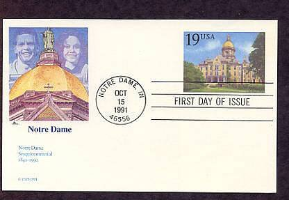 Sesquicentennial University of Notre Dame Postal Card First Issue USA