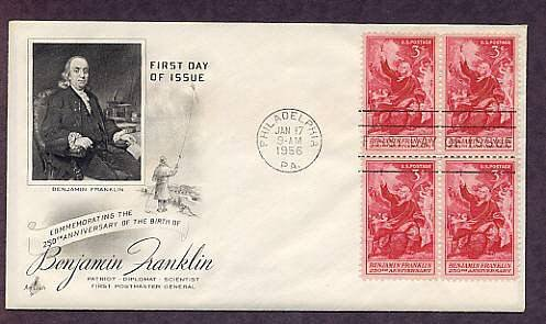 Benjamin Franklin, Taking Electricity from the Sky, 1956 First Issue USA