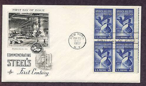 100th Anniversary U.S. Steel Industry, Steel Mill, 1957 First Issue USA