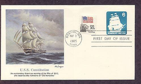 U.S.S. Constitution Postage Stamp Embossed Envelope AC First Issue USA