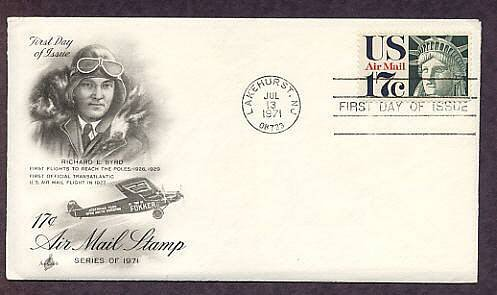 Air Mail Statue of Liberty Head, Richard Byrd, Fokker Trimotor Airplane First Issue USA