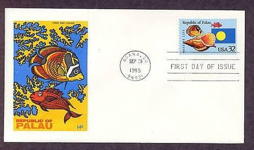 Republic of Palau, Marine Life, Native Fish, Triton's Trumpet Shell, HF, First Issue USA