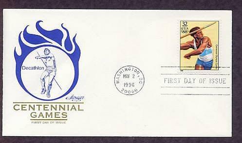 Atlanta 1996 Centennial Olympic Games, Decathlon Javelin, First Issue USA