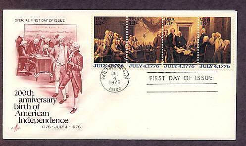 Declaration of Independence, Bicentennial, First Day Cover 1976 USA