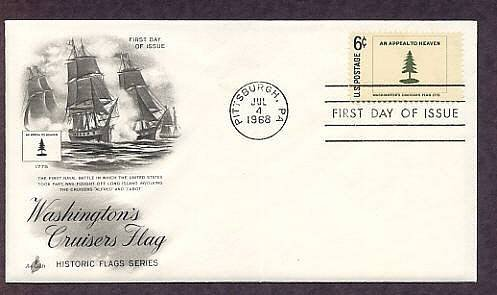 Historic Flag, 1775, Washington's Cruisers Flag, Ships, First Day of Issue USA