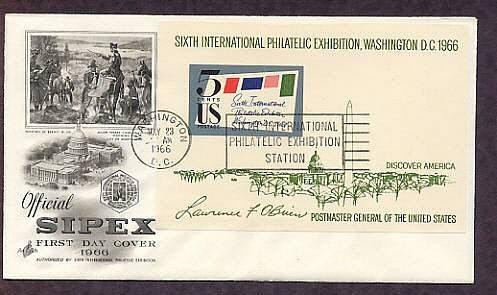 SIPEX, Sixth International Philatelic Exhibition Souvenir Sheet 1966 First Issue USA