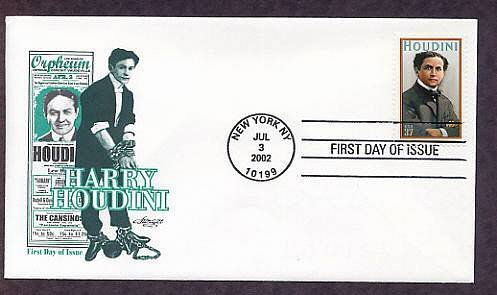 Honoring Harry Houdini, Magician, Escape Artist, First Issue FDC USA