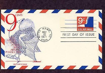 Airmail Postal Card, Bald Eagle, 1971 Kitty Hawk, First Issue USA