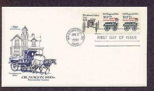 Horse Drawn Oil Wagon 1890s, First Day of Issue, USA