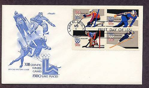 1980 Winter Olympic Games, Speed Skating, Downhill Skiing, Ski Jump, Ice Hockey, First Issue