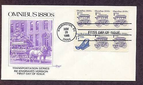 Horse Drawn Omnibus 1880s, Predecessor of the Modern Bus, AM First Issue USA