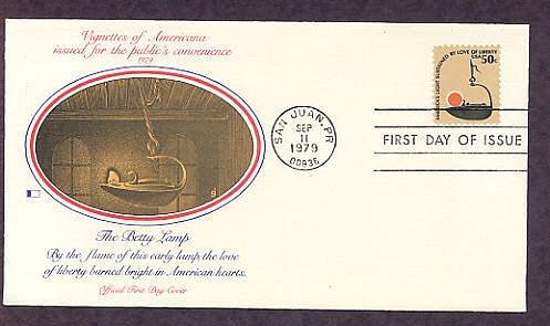 """Betty lamp, """"America's Light Sustained by Love of Liberty"""" First Issue FDC USA"""