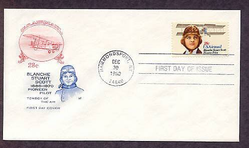 Pilot Blanche Stuart Scott, Aircraft, Aviation, Airmail First Issue USA