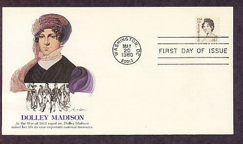 Honoring Dolley Madison, First First Lady to Preside in Washington D.C.,  First Issue USA