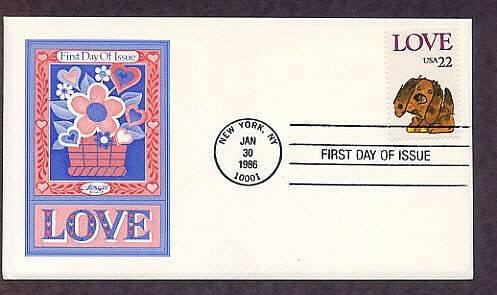 Love Postage Stamp, Puppy, First Issue AM 1986 USPS USA