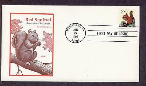 Red Squirrel, Tamiasciurus hudsonicus, First Issue USA