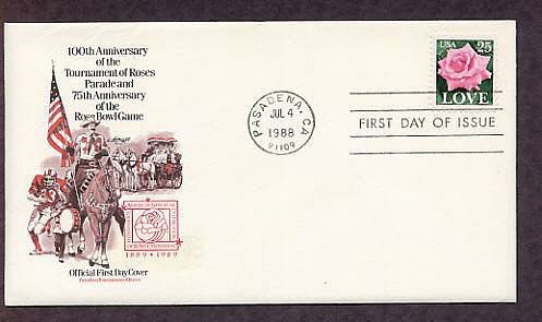 1988 Love Stamp, Rose, Tournament of  Roses Parade, Rose Bowl Game, First Issue USA