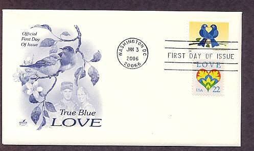 2006 Love Postage Stamp, Birds Pearched in Heart Formation, First Issue USA