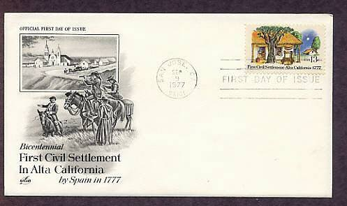 First Settlement in Alta California by Spain, Bicentennial, First Issue USA