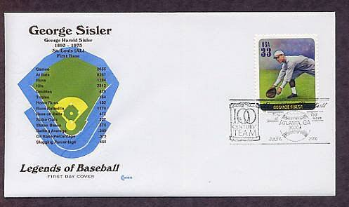 George Sisler, Baseball Legend, First Base, First Issue
