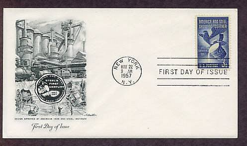 100th Anniversary U.S. Steel Industry, Steel Mill, 1957 AM First Issue USA