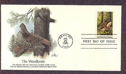 Save Woodland Habitats, Ruffed Grouse, First Issue USA