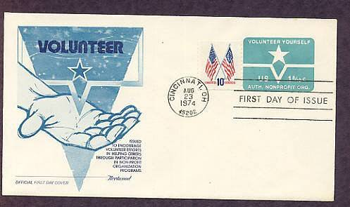 Volunteer Yourself Postage Stamp Embossed Envelope, First Issue USA