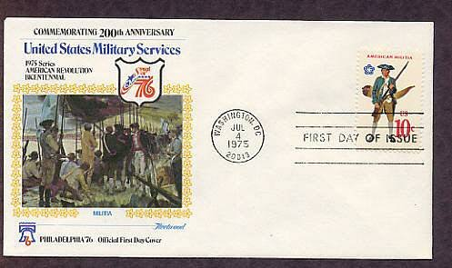 Bicentennial Revolutionary War Uniforms, Militia, First Day Issue Cover, 1975 USA
