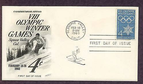 1960 VIII Winter Olympic Games, California First Issue USA