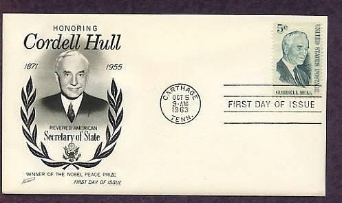 Honoring Cordell Hull, Secretary of State, Nobel Prize Winner, First Issue USA