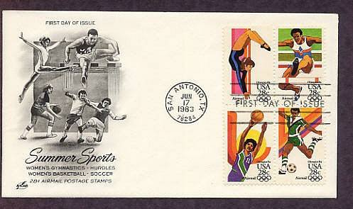 Summer Olympics 1984, Women's Gymnastics, Hurdles, Women's Basketball, Soccer, First Issue USA