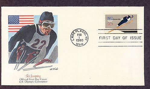 1980 Winter Olympic Games, Ski Jumping, Lake Placid, New York, First Issue USA