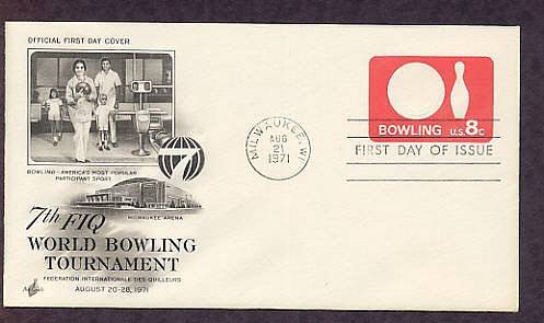 Bowling Postage Stamp Embossed Envelope, 1971 First Issue USA