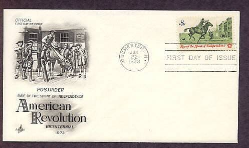 American Revolution Bicentennial, Colonial Post Rider, First Issue USA