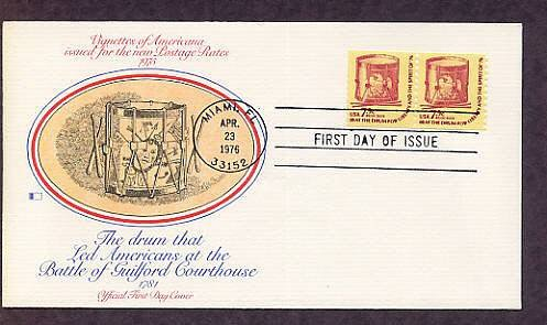 American Revolution Bicentennial, Drum, Flags, Eagle, 1976 Fleetwood First Issue USA