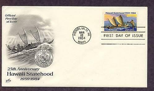Hawaii Statehood, Honolulu, Silver Jubilee, Eastern Polynesian Canoe, First Issue USA