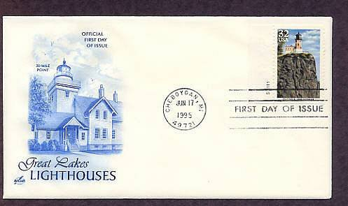 Great Lakes Lighthouses, Split Rock, Lake Superior, Michigan First Issue USA