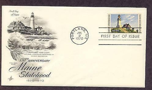 Portland Head Lighthouse, Maine Statehood 1970 First Issue USA