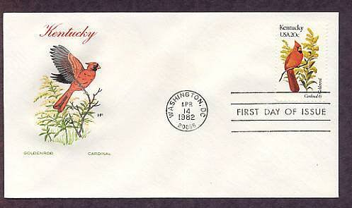 Kentucky Birds and Flowers, Cardinal, Goldenrod, HF First Issue USA