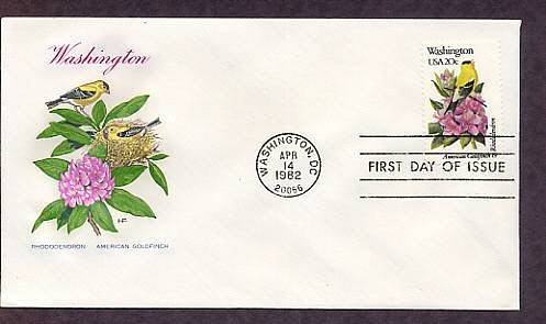 Washington Birds and Flowers, American Goldfinch, Rhododendron, HF First Issue USA
