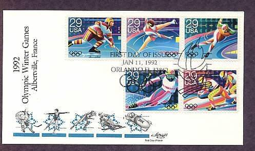 1992 Winter Olympics, Hockey, Figure Skating, Speed Skating, Skiing, Bobsledding, First Issue USA