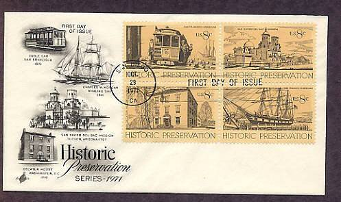 Historic Preservation, Decatur House, Whaling Ship, Cable Car, San Xavier del Bac Mission, FDC