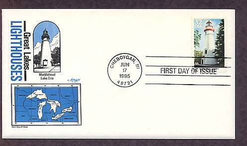 Great Lakes Lighthouses, Marblehead, Lake Erie, Michigan AM First Issue USA