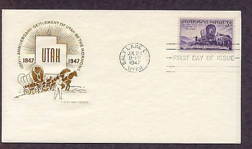 100th Anniversary of the Mormon Settlement, Utah, Brigham Young, 1947 HF First Issue USA