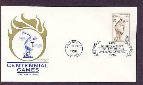 Atlanta 1996 Centennial Olympic Games, Myron's Discobolus, First Issue USA