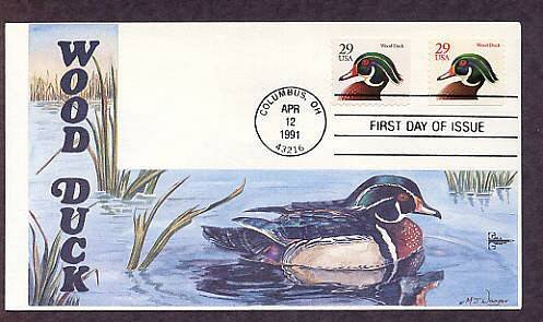 Wood Ducks, Wildlife Birds, Gill Craft, First Issue USA